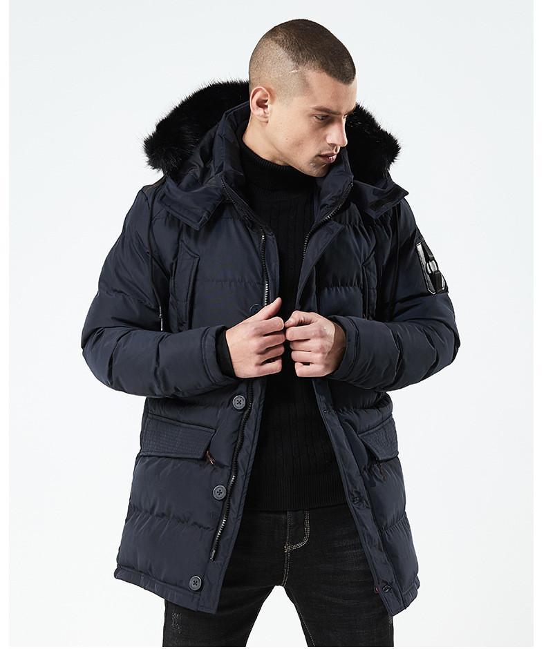 Куртка парка мужская холодная осень зима бренд City Channel (Канада) 03003-02 цвет темно-синий