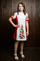 """Детское платье красного цвета с вышивкой """" Полевые цветы""""."""