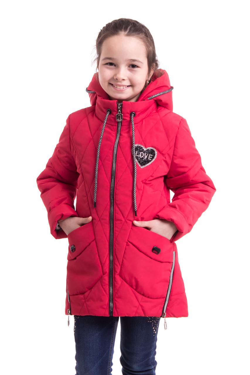 Демисезонная  куртка для девочек удлиненная  34-42  красный