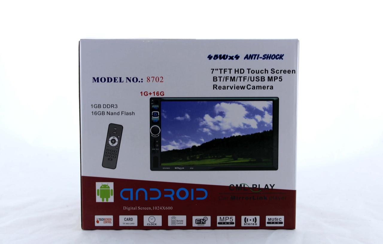 "Автомагнитола 2DIN 8702  диагональю 7"" дюймов с BT/ Android / USB / microSD / GPS/  FM"