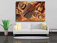 """Картины на холсте """"Старинный натюрморт - увеличительное стекло, карманные часы, старая книга и гусиное перо л"""""""