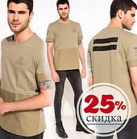 Хаки мужская футболка De Facto / Де Факто с полосками на спине