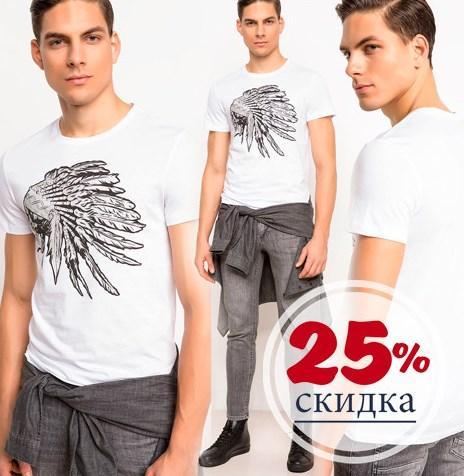 Белая мужская футболка De Facto / Де Факто с индейцем на груди
