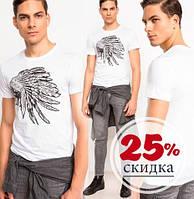 Белая мужская футболка De Facto / Де Факто с индейцем на груди, фото 1