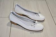 Балетки женские кожаные белого цвета итальянские Malibu к.-806