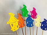Скворечник с пчёлками декор на палочке. 7 цветов. Пасхальный декор на палочке из пластика, фото 3