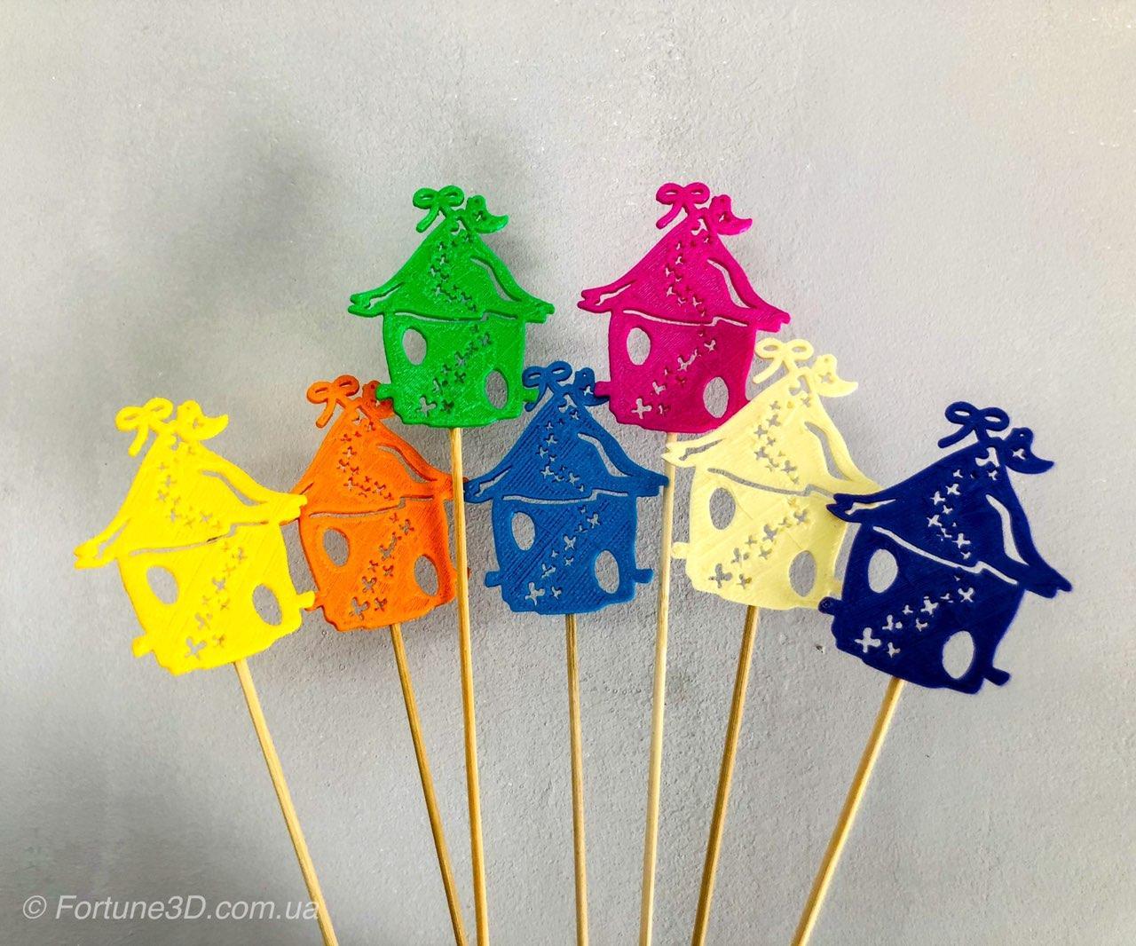 Скворечник с пчёлками декор на палочке. 7 цветов. Пасхальный декор на палочке из пластика