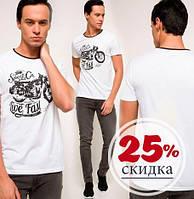 Белая мужская футболка De Facto / Де Факто с надписью на груди Live fast и темной окантовкой