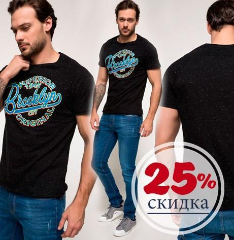 Черная мужская футболка De Facto / Де Факто с синей надписью Brooklyn на груди