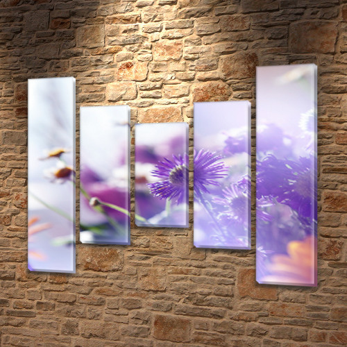 Полевые Цветы, модульная картина на ПВХ ткани, 90x110 см, (90x20-2/60х20-2/45x20)