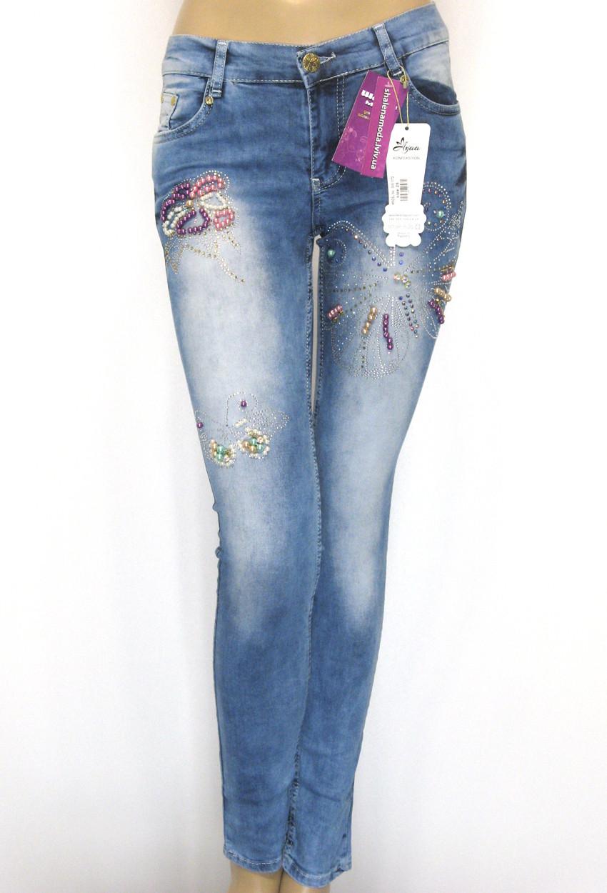 Жіночі джинси низька посадка з бісером