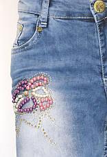 Жіночі джинси низька посадка з бісером, фото 3