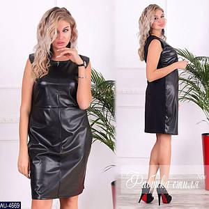 Женское черное повседневное летнее мини платье (креп-дайвинг и эко-кожа) цвет-черный (батал)