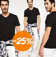 Мужская черная футболка De Facto / Де Факто