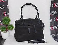 Кожаная черная женская сумка с тиснением рептилия, фото 1