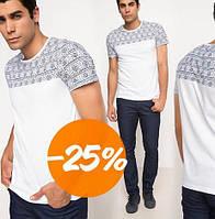 Белая мужская футболка De Facto / Де Факто с узорами на плечах, фото 1