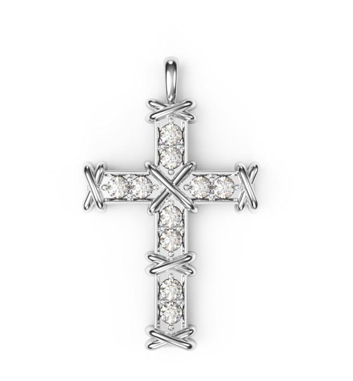 Крест серебряный Ten Stone Тифани TIFFANY 272