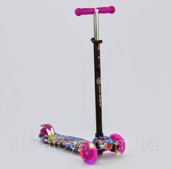 Самокат триколісний для дівчаток Best Scooter Maxi 1395. Самокат з світяться колесами