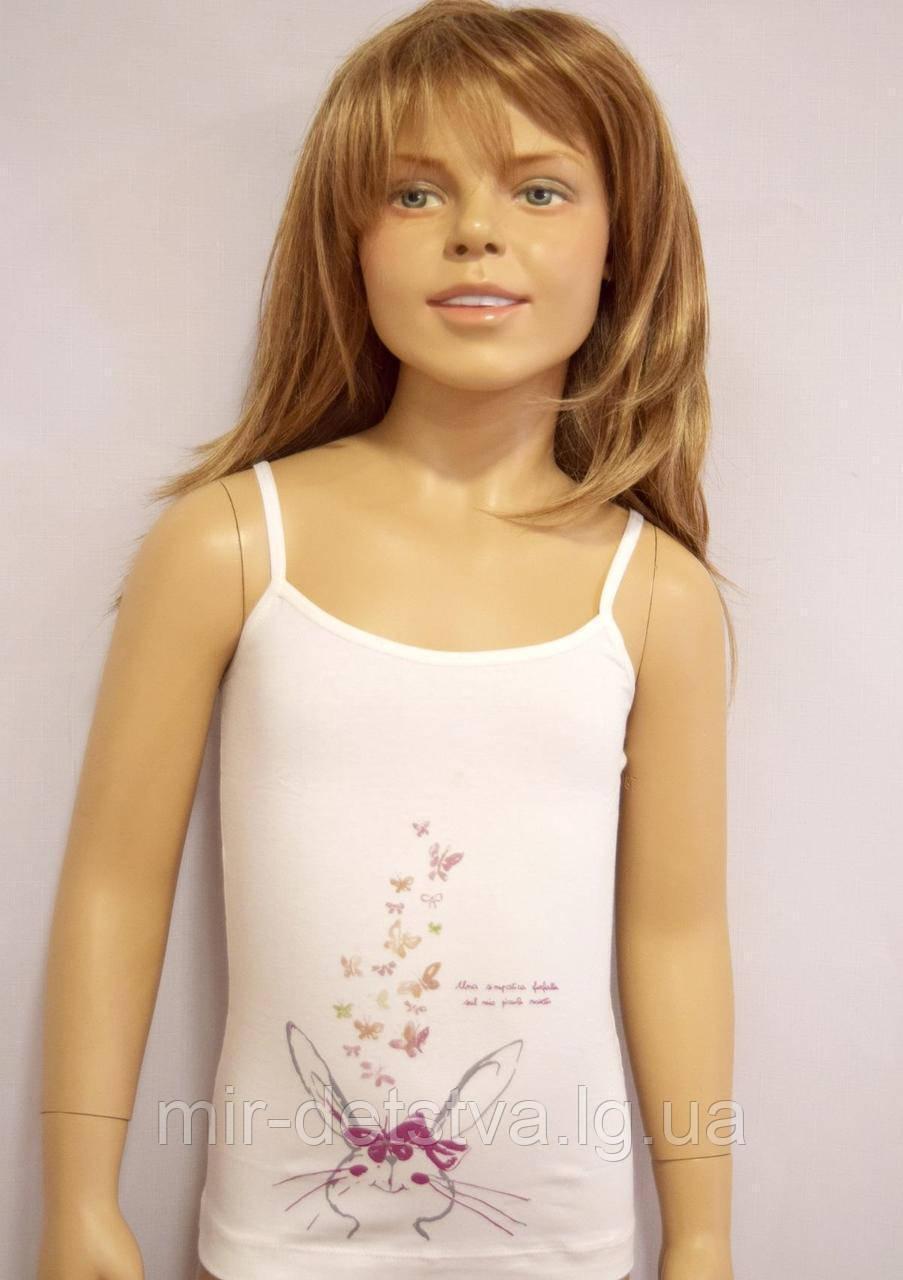 """Майки детские для девочек """"Шкодный кролик"""" ТМ Baykar, Турция оптом р.7 (170-176 см)"""