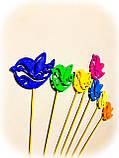Пташки з візерунком декор на паличці. 7 кольорів. Великодній декор на паличці з пластику, фото 2
