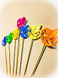 Пташки з візерунком декор на паличці. 7 кольорів. Великодній декор на паличці з пластику, фото 3