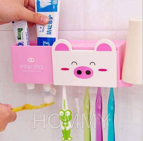 Дозатор  для пасты + Набор для ванной. Поросенок