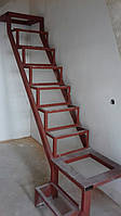 Лестница в квартиру. Каркас лестницы под зашивку - прямой марш с площадками, фото 1