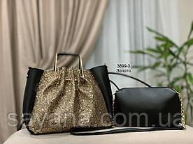 Женский комплект: сумка и клатч с декором в расцветках. ИТ-16-0319