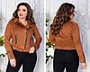 Женская стильная укороченная замшевая куртка косуха с клепками и змейками, норма и батал большие размеры, фото 2