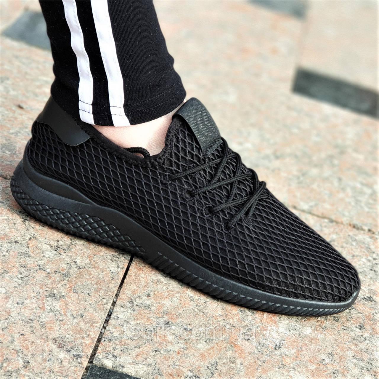 Черные женские мокасины кроссовки Deerupt Runner на лето весну недорогие мягкие и удобные (Код: 1386)