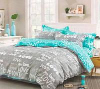 Постель Love двуспальная. Комплект постельного белья. Ткань Бязь, коттон. Голд: 100% Хлопок