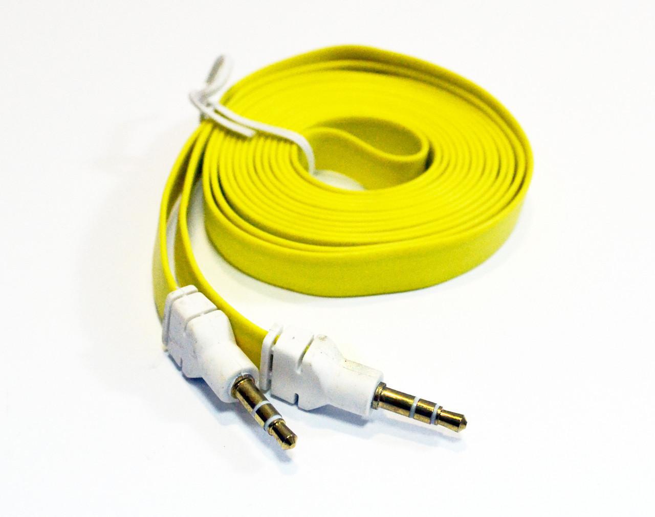 Кабель аудио AUX 3.5 jack 2м лапша толстая