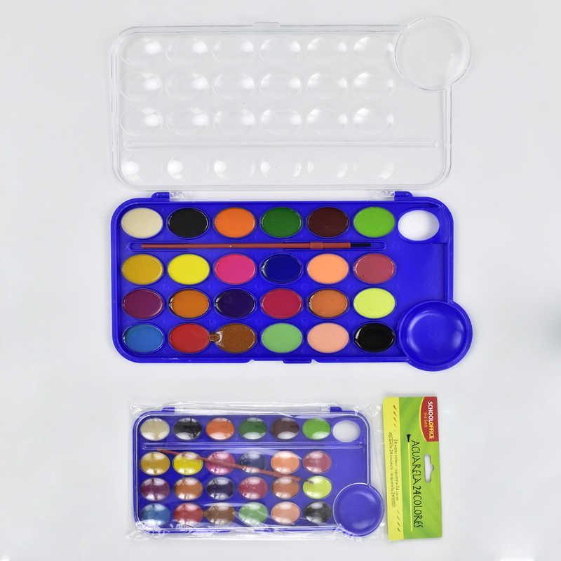 Краски акварельные 01432 (144) 24 цвета, с кисточкой, в кульке