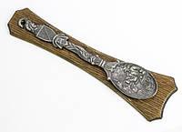 Антикварная оловянная  ложка, олово, дерево, Германия, 40 см