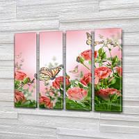 Розы и бабочки, Модульные картины в спальню на Холсте, 90x110 см, (90x25-4)