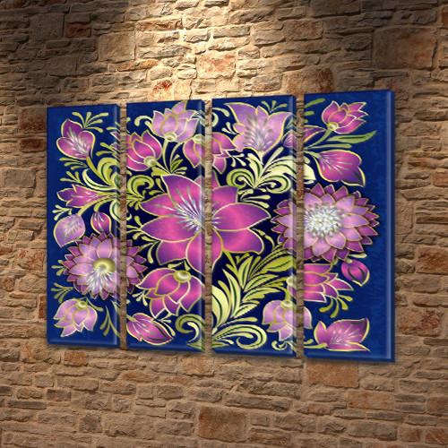 Художественная роспись Модульная картина на холсте (Цветы), 90x110 см, (90x25-4)