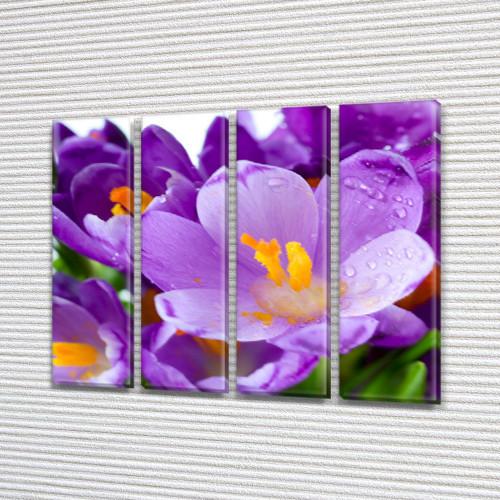 Крокусы, модульная картина (Цветы) на Холсте, 90x110 см, (90x25-4)