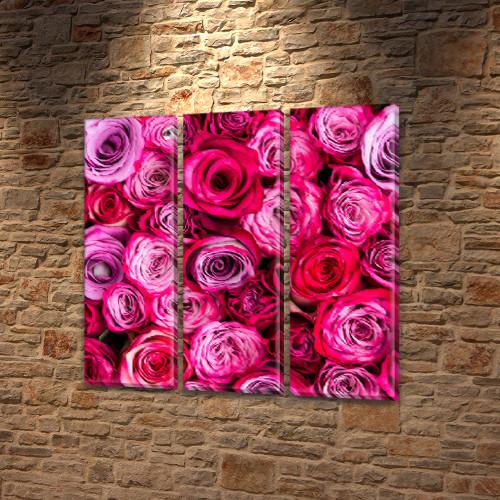 Пышные Розы, модульная картина (Цветы) на Холсте, 95x95 см, (95x30-3)