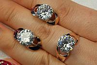 Серебряный набор - кольцо и серьги. Серебряные украшения с золотыми вставками