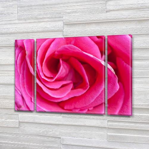 Бутон Розовой Розы, модульная картина (Цветы) на Холсте, 95x135 см, (95x24-2/95х80)