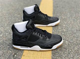 """e9372301 Кроссовки Air Jordan 4 """"Black/Grey"""" Арт. 3878 черные"""