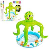 """Детский надувной бассейн Intex 57115 с навесом и надувным дном """"Осьминог"""", бассейны Интекс"""