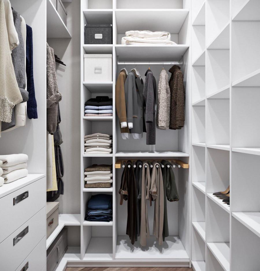 П-образна гардеробна кімната біла на замовлення