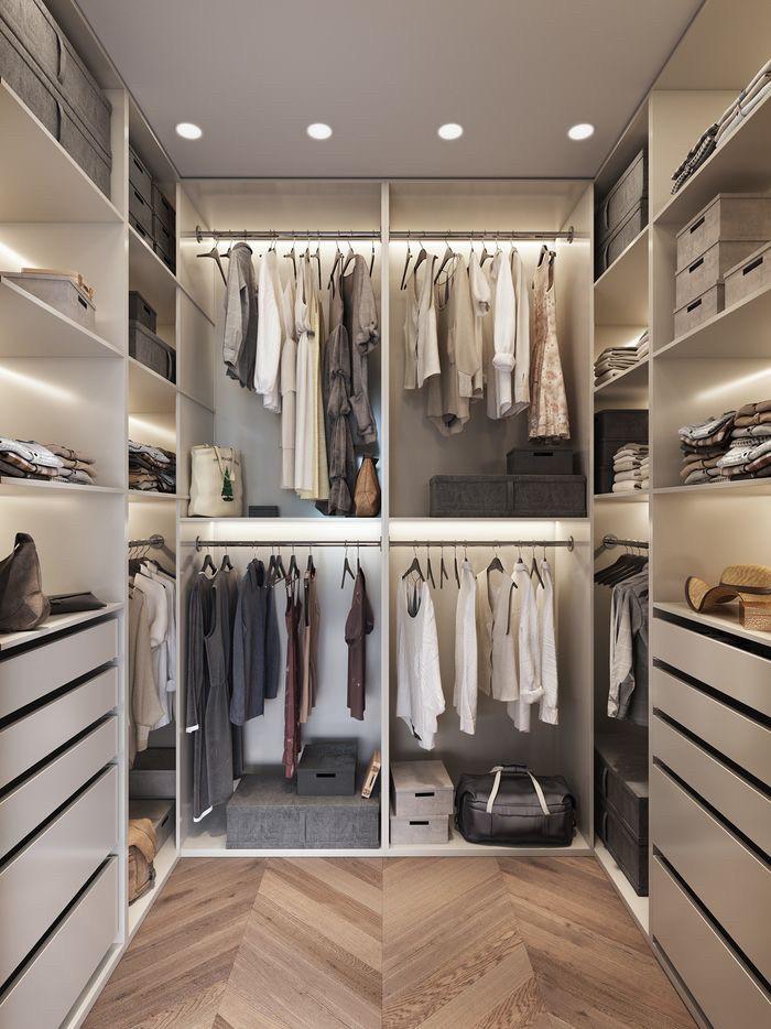 f54ba2ac00329 П-образная гардеробная комната белая на заказ с подсветкой: продажа ...