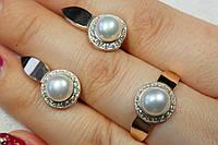 Серебряные украшения с жемчугом и золотом - кольцо и серьги