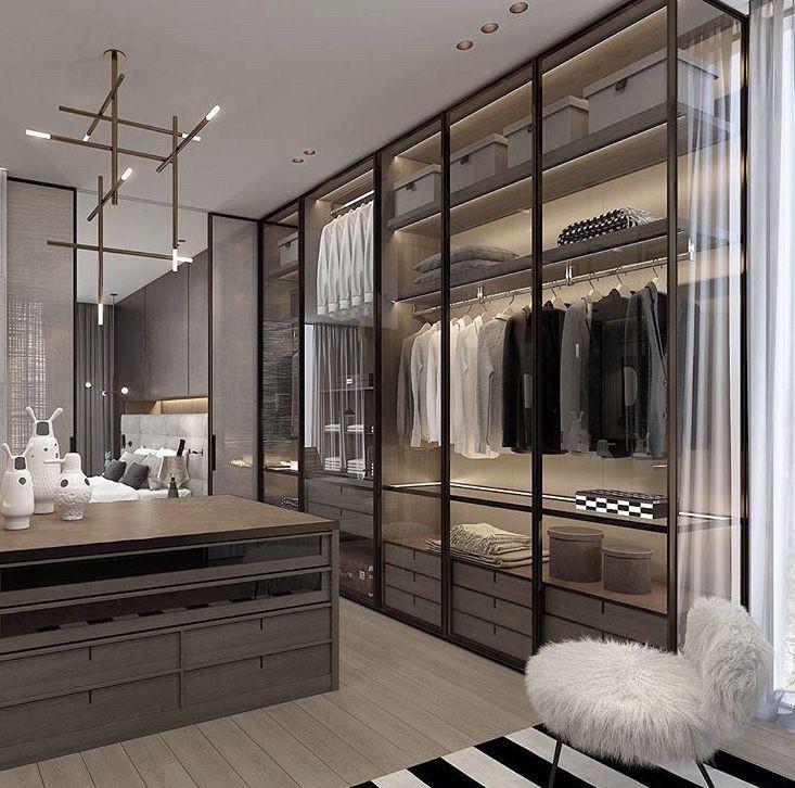 Шкаф Гардеробная комната на заказ с фасадами стекло и шпон дуба