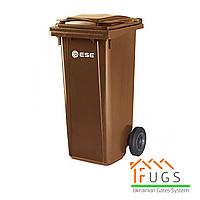 Пластиковый контейнер для утилизации мусора, 120 л коричневый, фото 1