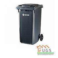 Пластиковый контейнер для утилизации мусора, 240 л серый