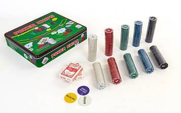 Покерний набір в металевій коробці (500 фішок з номіналом,2кол.карт,полотно)