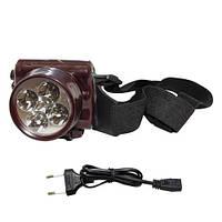 Налобный аккумуляторный фонарик на 5 светодиодов YJ-1829-5